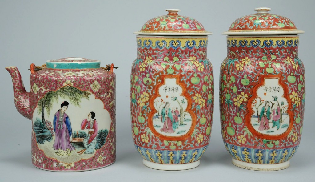 Lot 28: Famille Rose Porcelain Items, Jars & Tea Pot