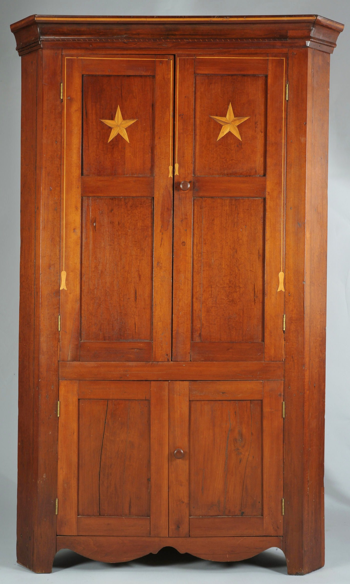 - Lot 291: E. TN Cherry Corner Cupboard With Tassel Inlay