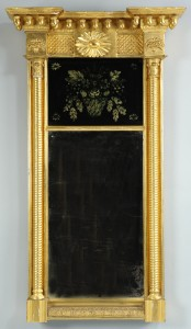 Lot 299: Gilt Carved Mirror with Reverse Painted Panel