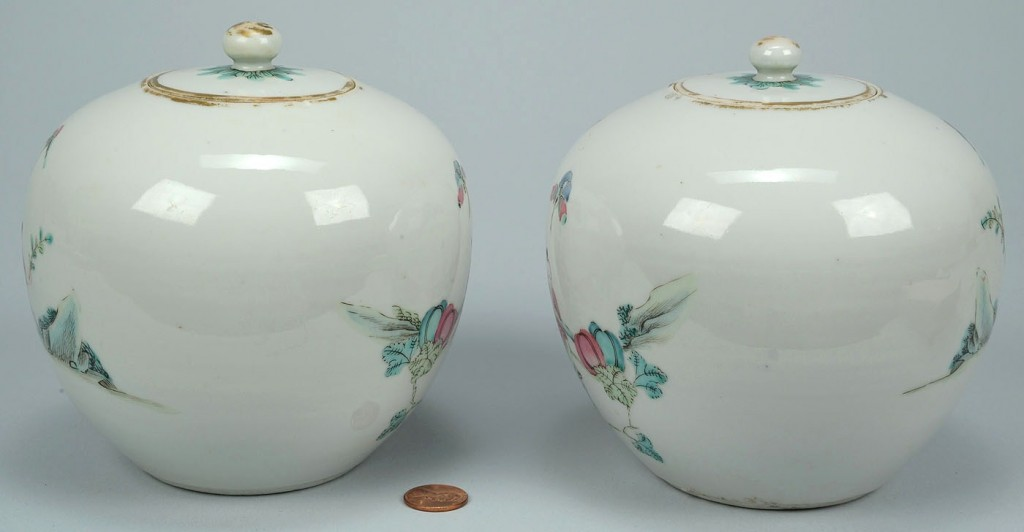 Lot 29: Pair Chinese Famille Rose Porcelain Tea Caddies