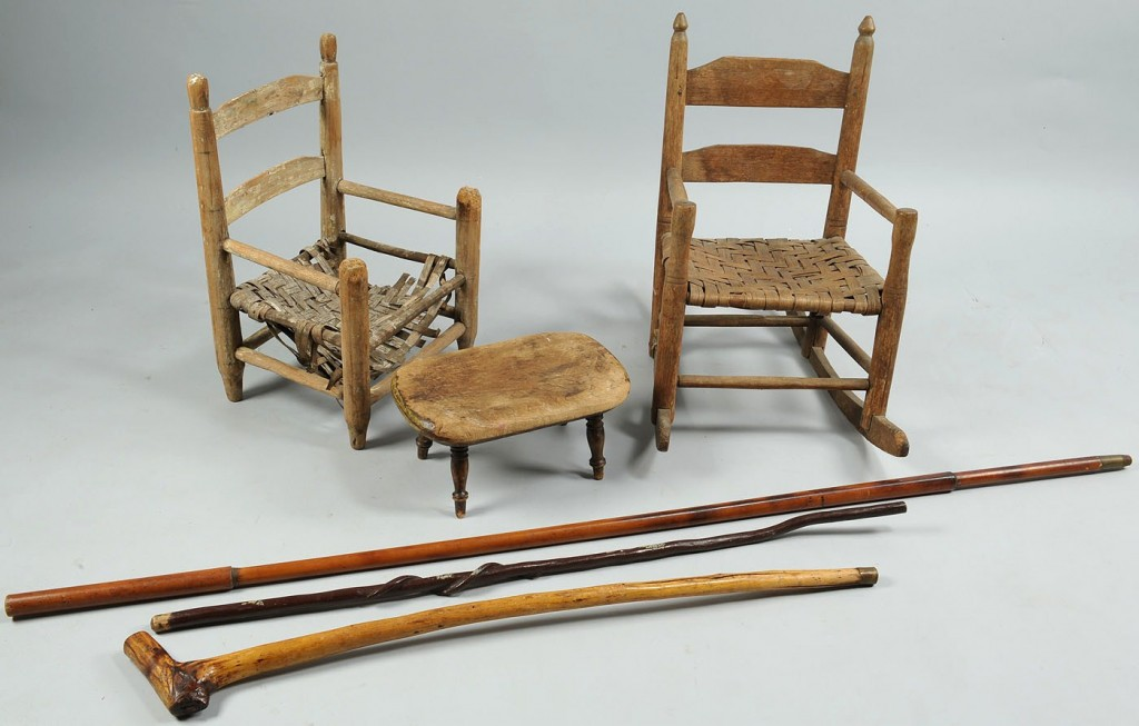 Lot 303: Lot of 6: Child's Chairs, Child's Footstool, & Car