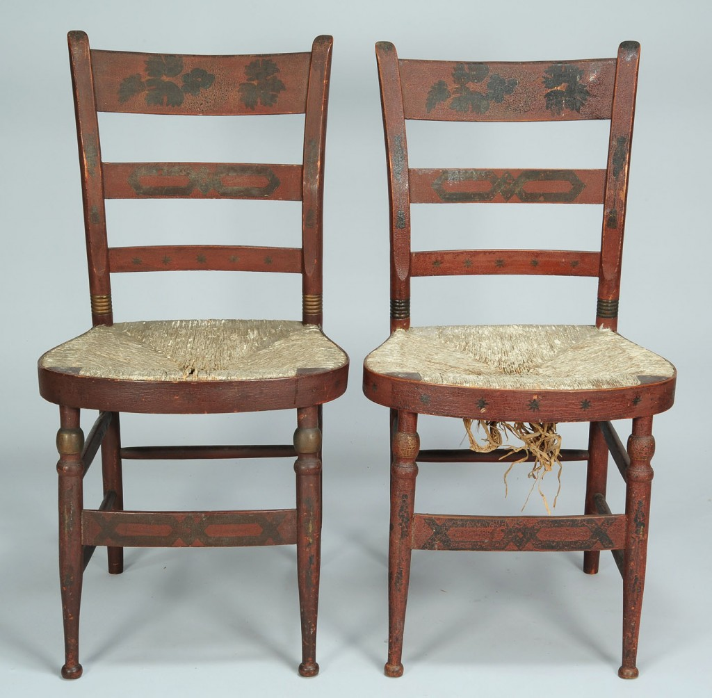 Lot 305: Pair of Fancy Painted Side Chairs