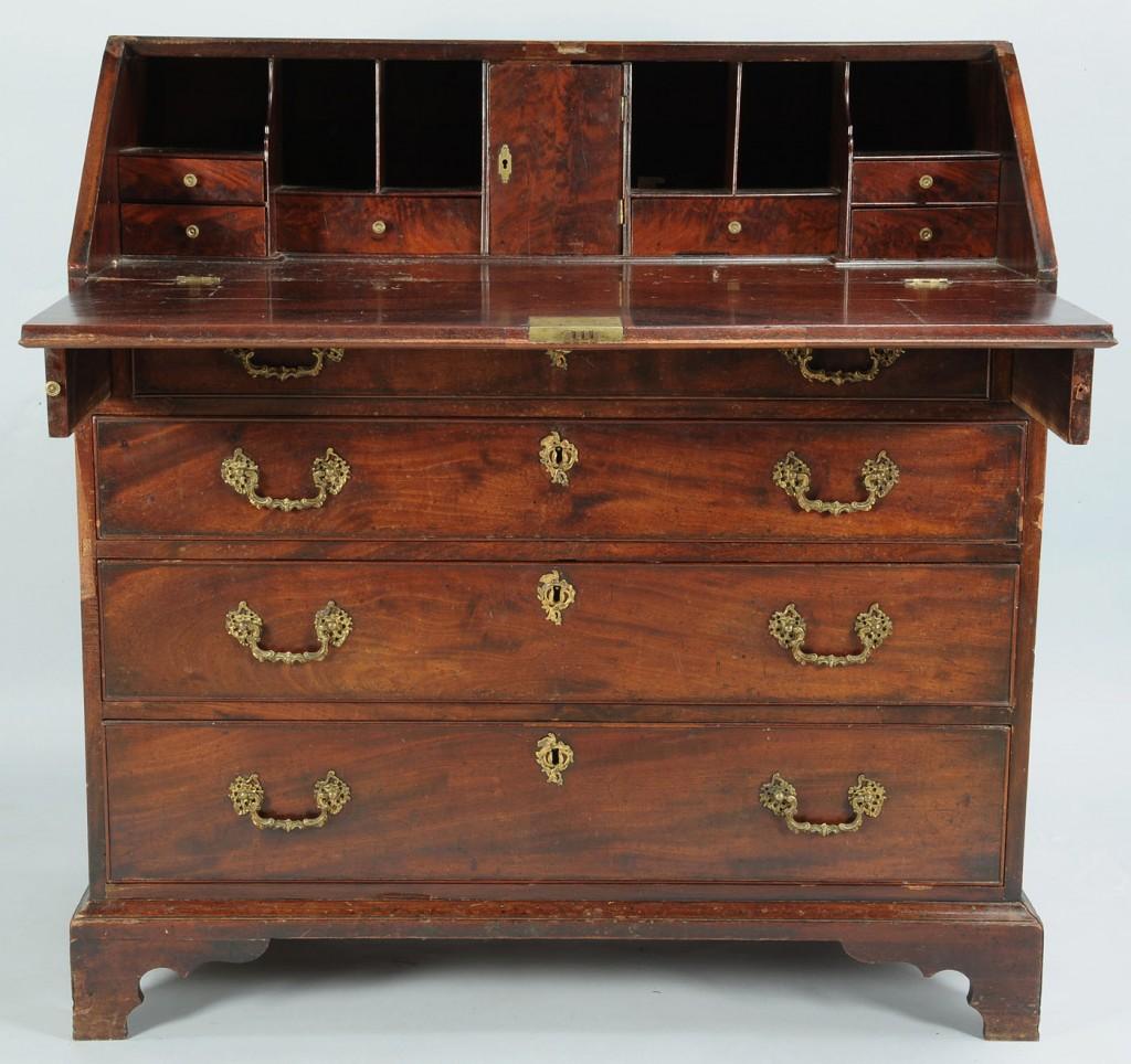 Lot 306: George III Mahogany Slant Front Desk