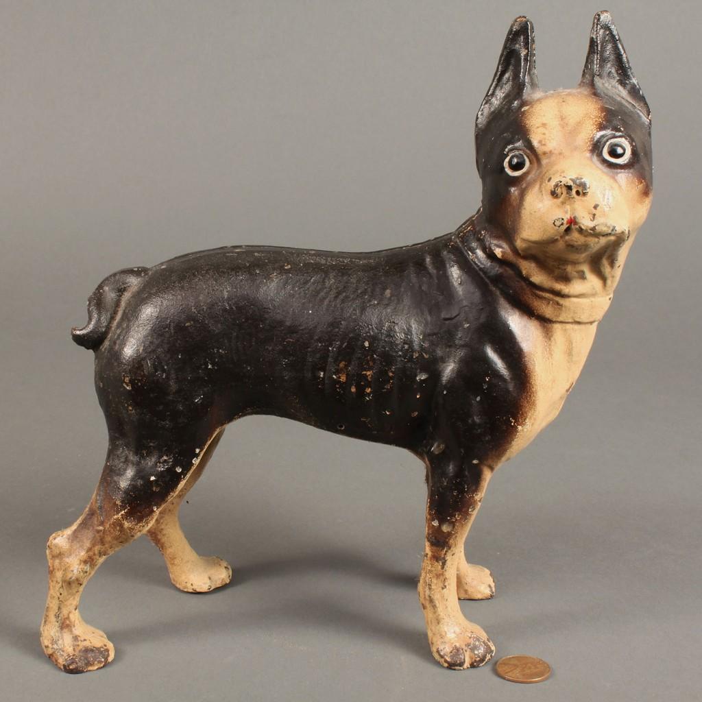 Lot 311: 3 Cast Iron Dog items, incl door stops