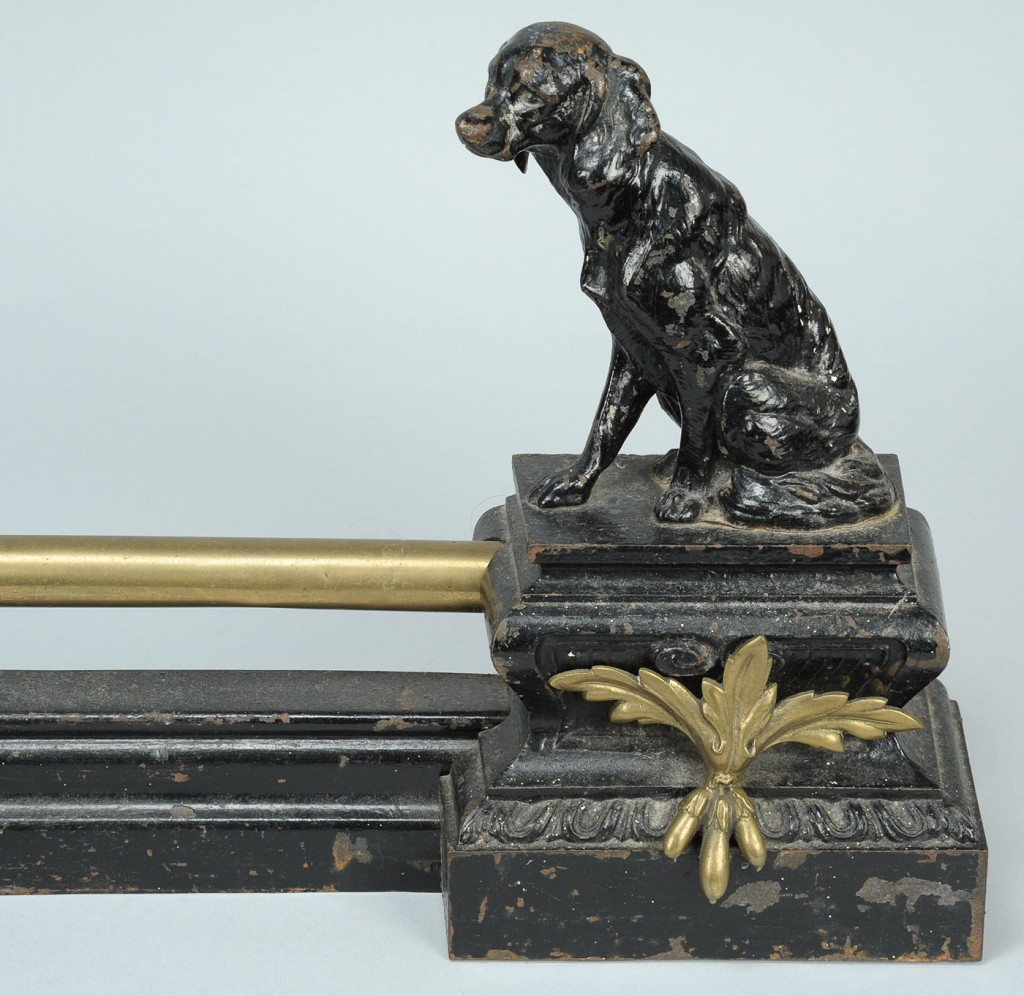 Lot 312: Fireplace fender with dog figures design