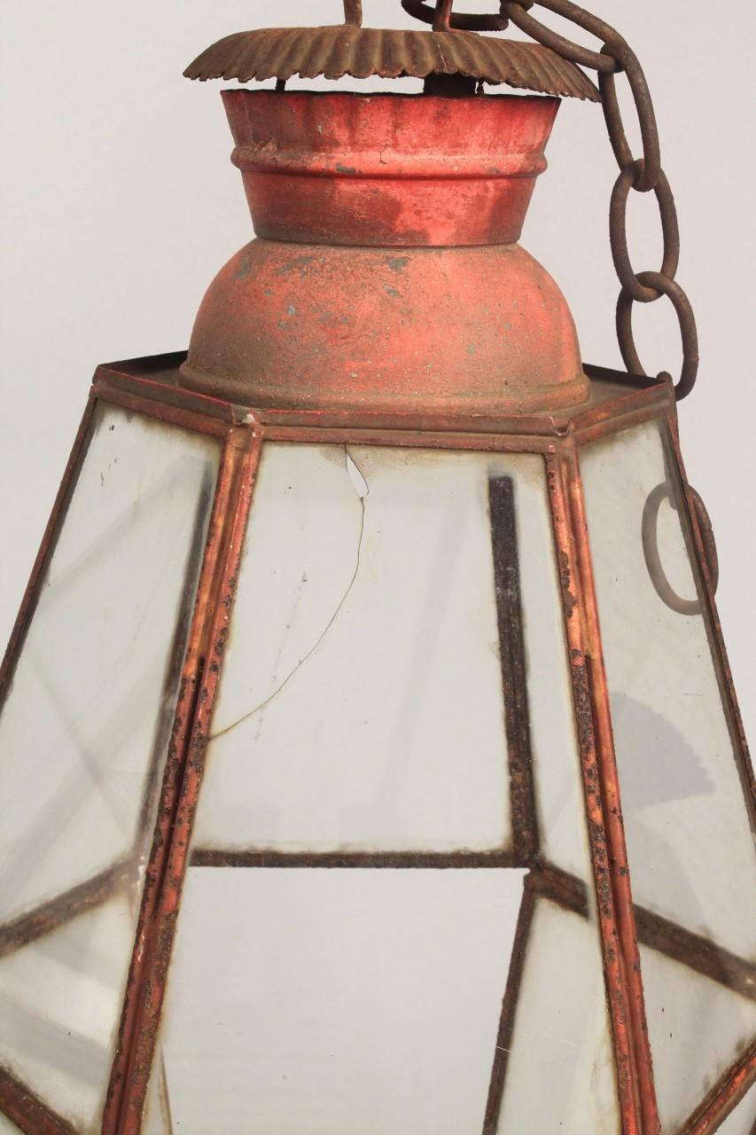Lot 315: Pair of Red painted tin lanterns