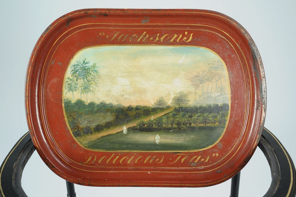 Lot 317: Rare tole advertising tray on stand, Jackson's Tea
