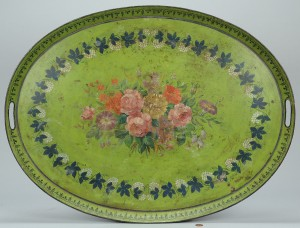Lot 318: Large green tole tea tray
