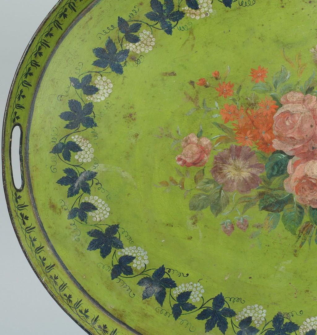 Lot 318: Large green tole tea tray