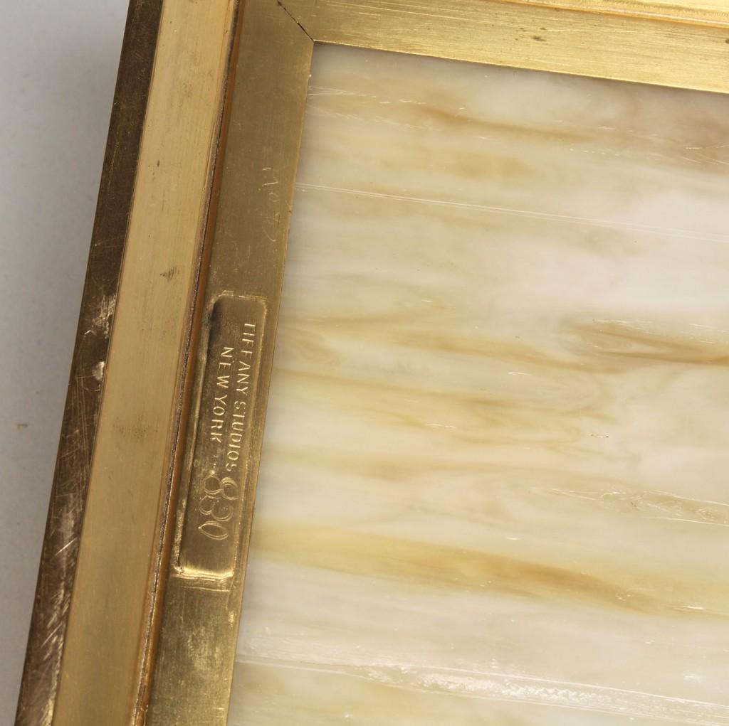 Lot 320: Tiffany Caramel Slag Glass & Gilt-Bronze Jewelry B