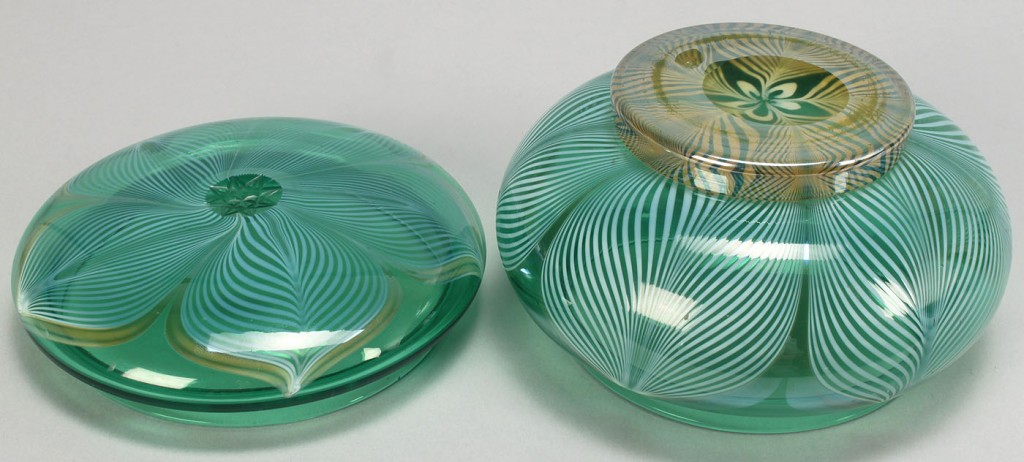 Lot 322: Durand Peacock Feather Vanity Box, Creamer, Plate