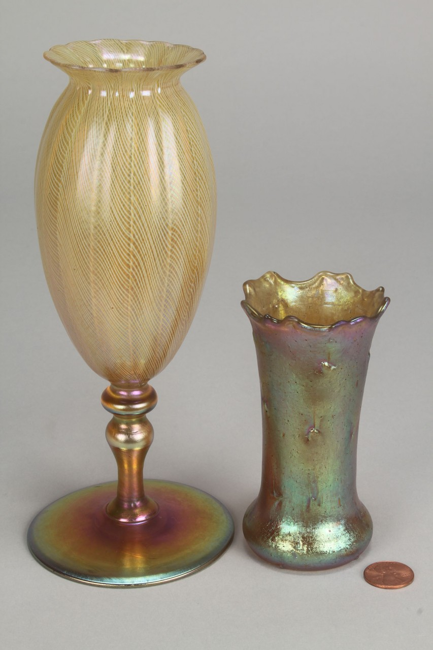 Lot 324: Favrile fluted vase, poss. Tiffany & Loetz bud vas