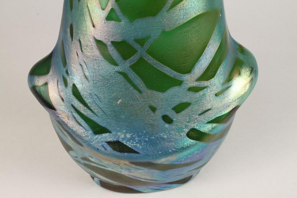 Lot 325: 2 Art Glass Vases, Serpent  & Silver Trails