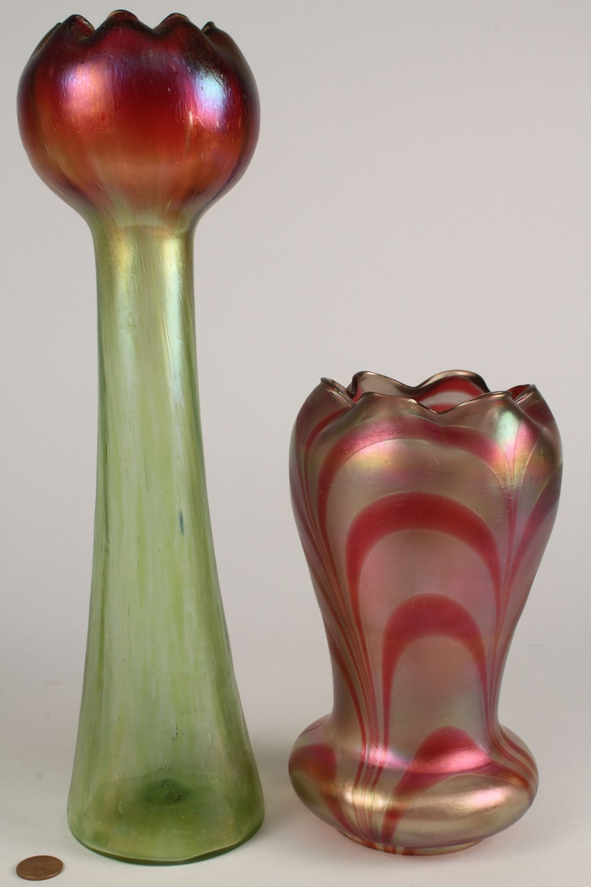 Lot 327 3 Art Glass Items Vase Bowl Amp Lamp Shade