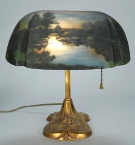 "Lot 328: Pittsburgh reverse painted desk lamp, 10 3/4""H"