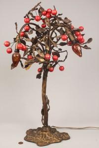Lot 331: Bronze figural Cherry Tree Lamp