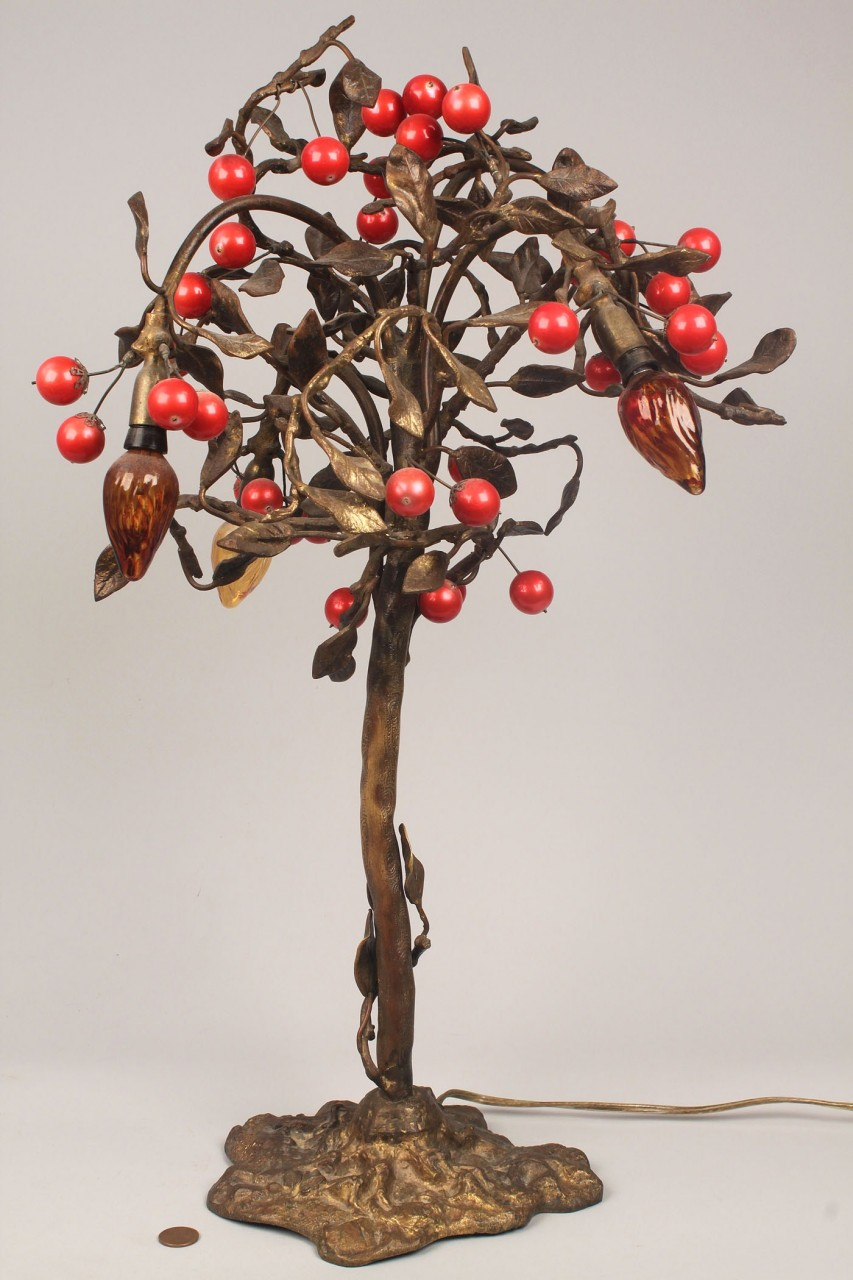 Lot 331: Bronze figural Cherry Tree Lamp