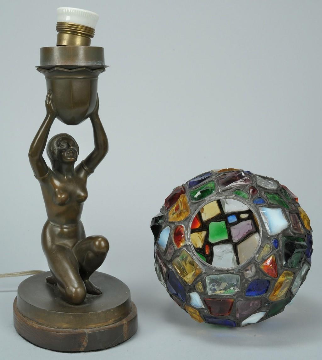 Lot 332: German Art Deco figure lamp, mosaic leaded shade