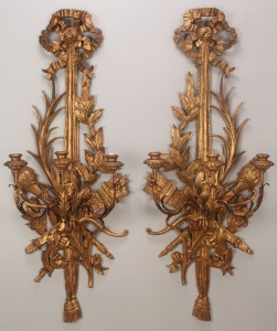 Lot 335: A Pair of Italian Giltwood three light sconces