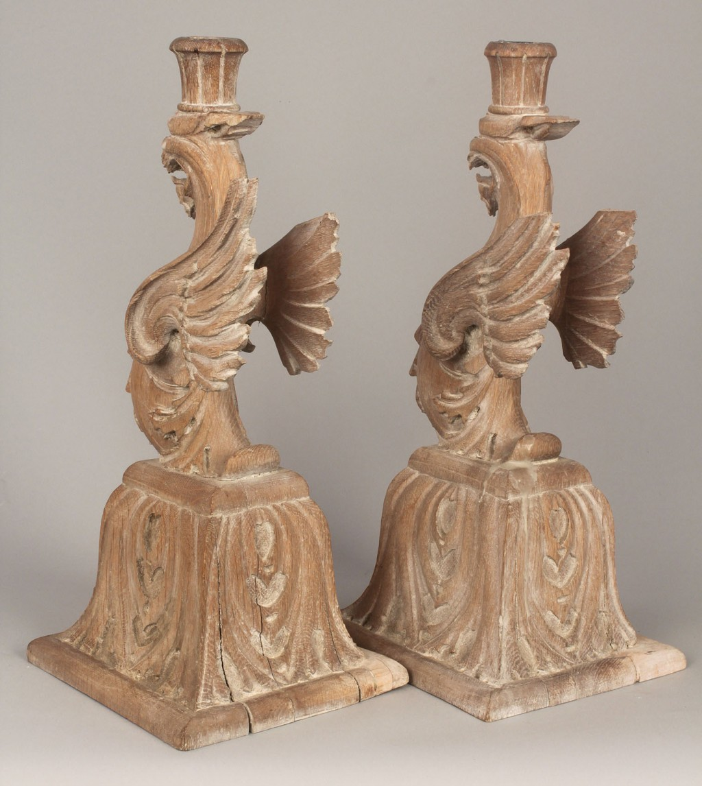 Lot 336: Pair carved Griffin candlesticks