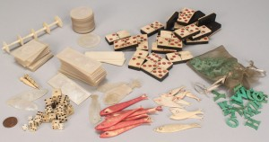 Lot 337: 19th c. Gaming accessories with Chips, Dice, Domin