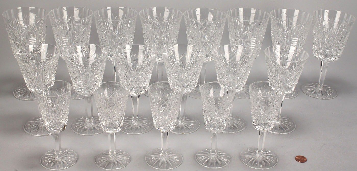 & Lot 339: Waterford crystal stemware Clare pattern 19 pcs