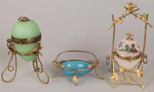 Lot 340: 3 gilt mounted opaline glass eggs