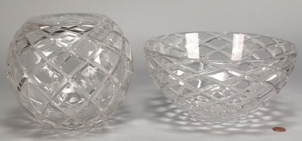 Lot 342: 2 signed Tiffany crystal bowls