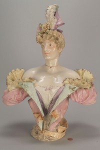 "Lot 344: Ceramic Bust of an Edwardian Lady, 21"" H, poss. Te"