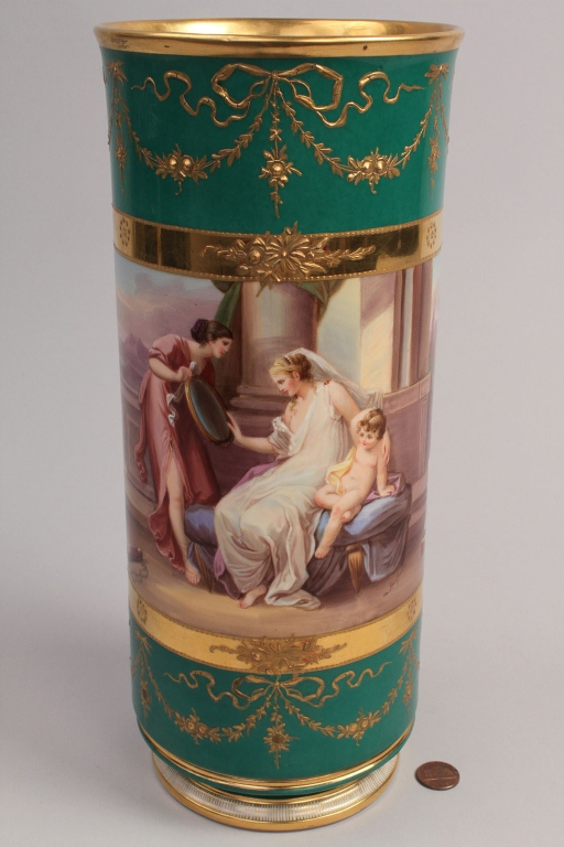 Lot 346: KPM Classical Vase w/ Painted Scenes