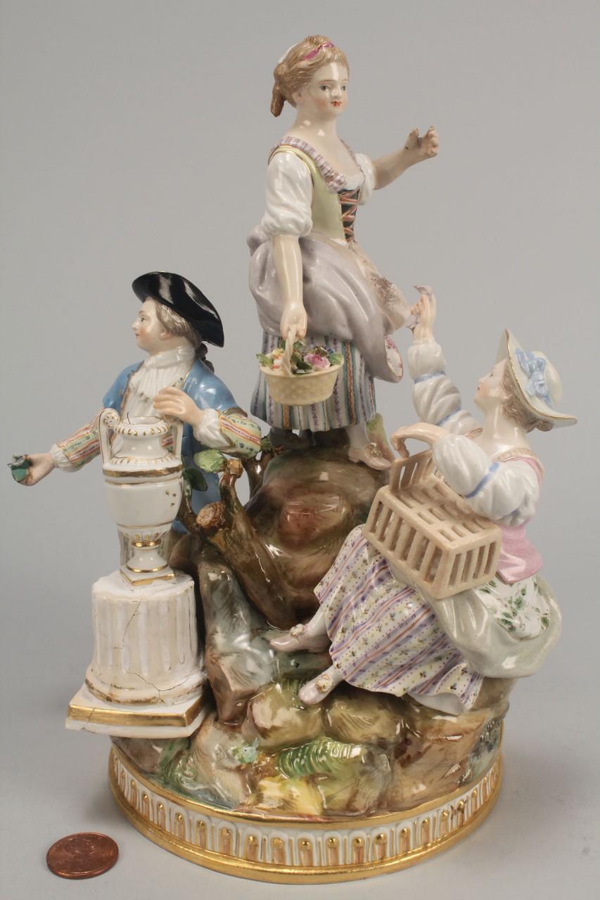 Lot 348: Meissen figural porcelain group of gardeners, 19th
