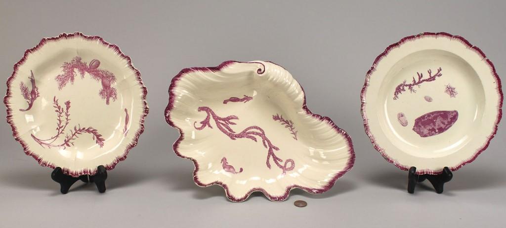 Lot 350: Purple decorated creamware, sea decorations, 3 pcs