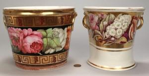 Lot 354: 2 English porcelain bulb pots, 1 Davenport