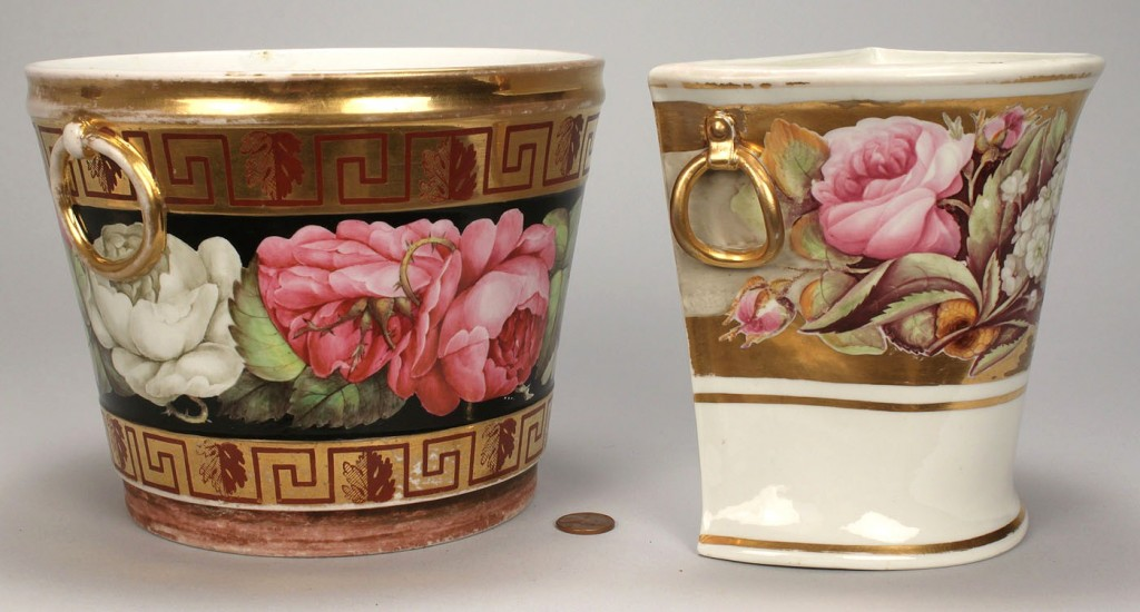 Lot 354: 2 English porcelain bulb pots, 1 Davenport