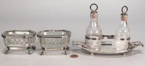 Lot 357: Early silver and glass table items, 3 pcs