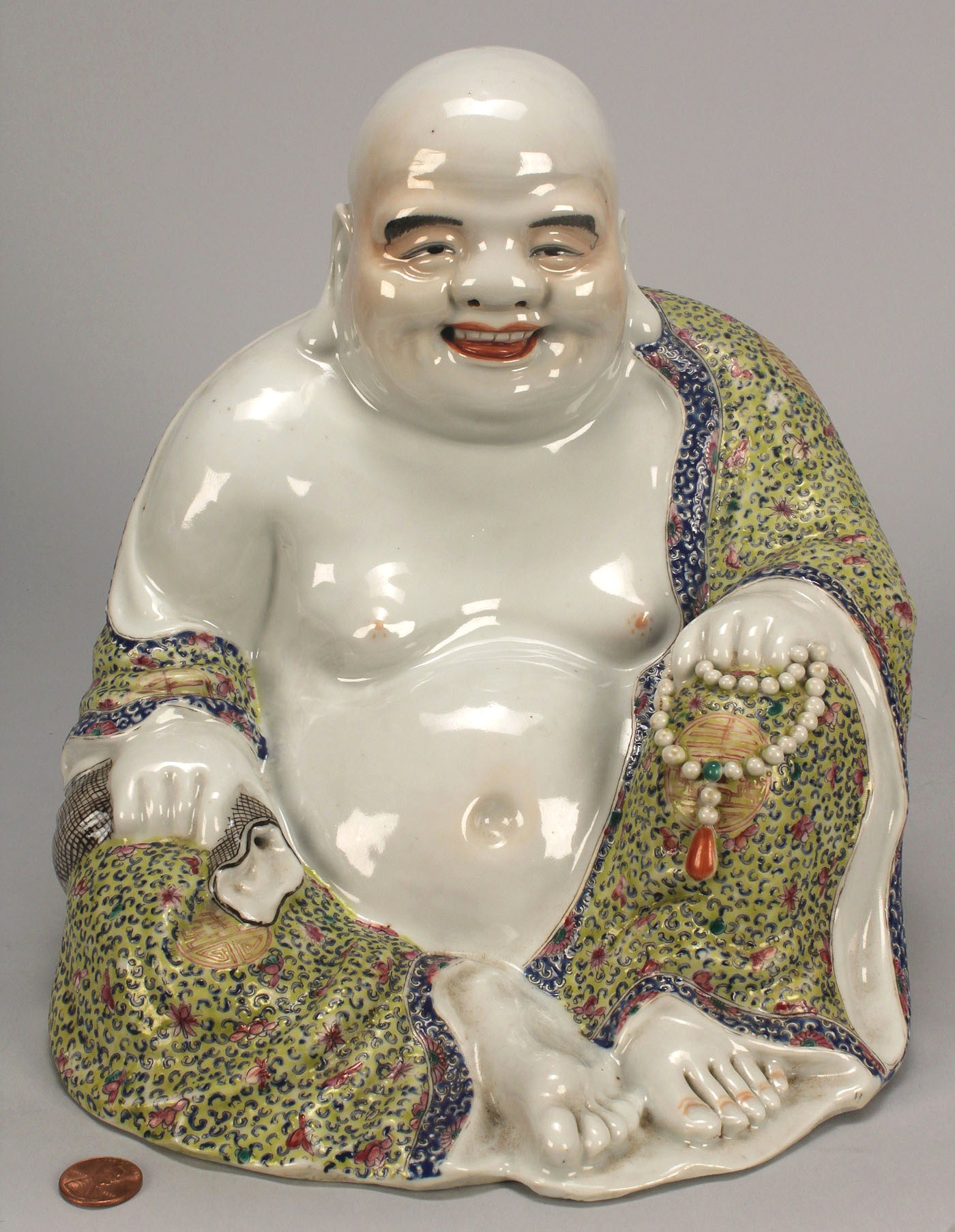 Lot 35 two chinese famille rose porcelain buddha figures for Figur buddha