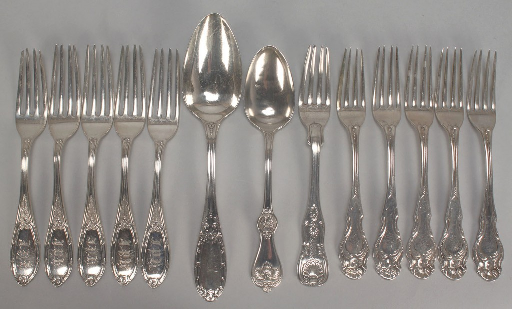 Lot 361: 13 coin & early sterling forks & spoons
