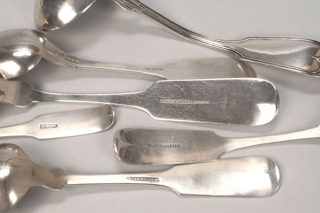 Lot 362: New York coin silver flatware, 17 pcs