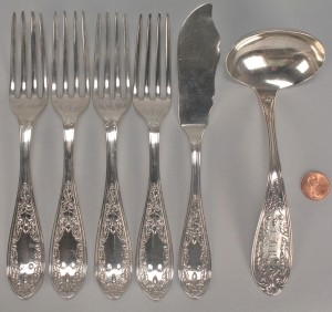Lot 363: Rare Coin Silver Acorn Flatware, 6 pcs