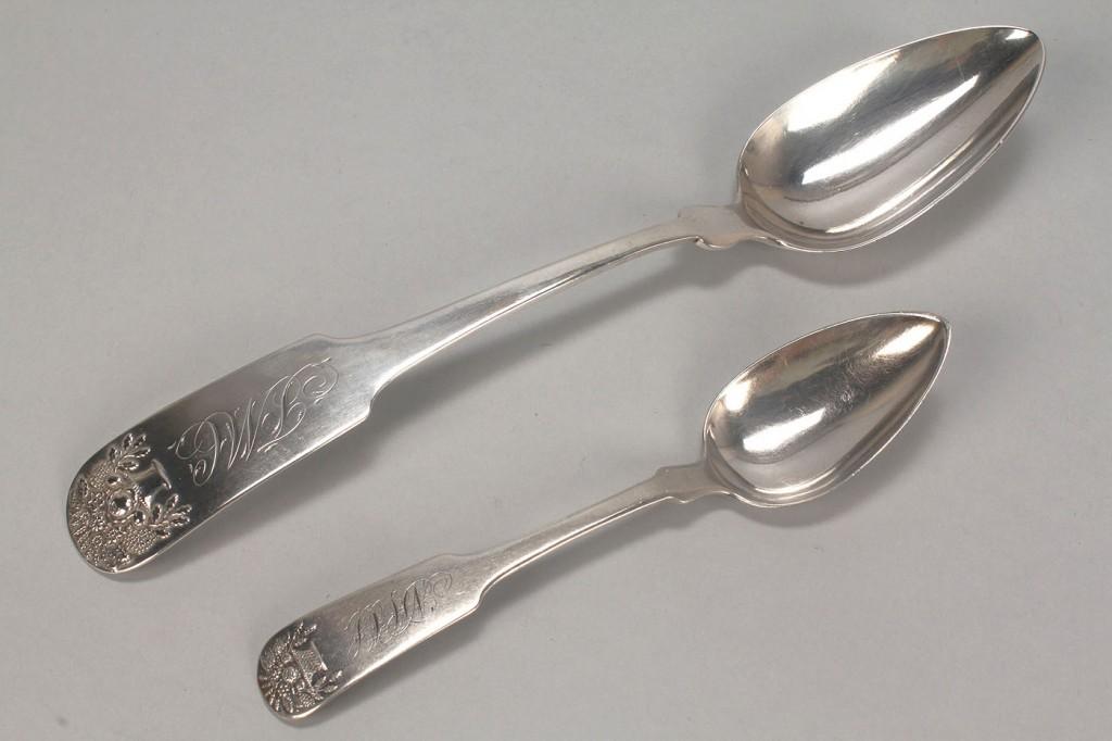 Lot 364: 5 pcs Basket of Flowers coin silver flatware
