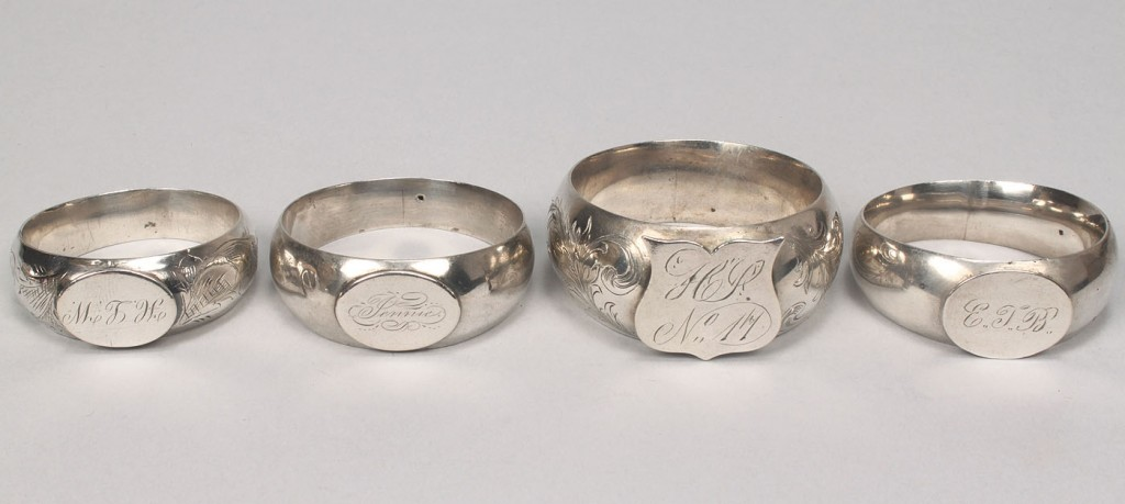 Lot 366: 7 Assorted coin silver napkin rings