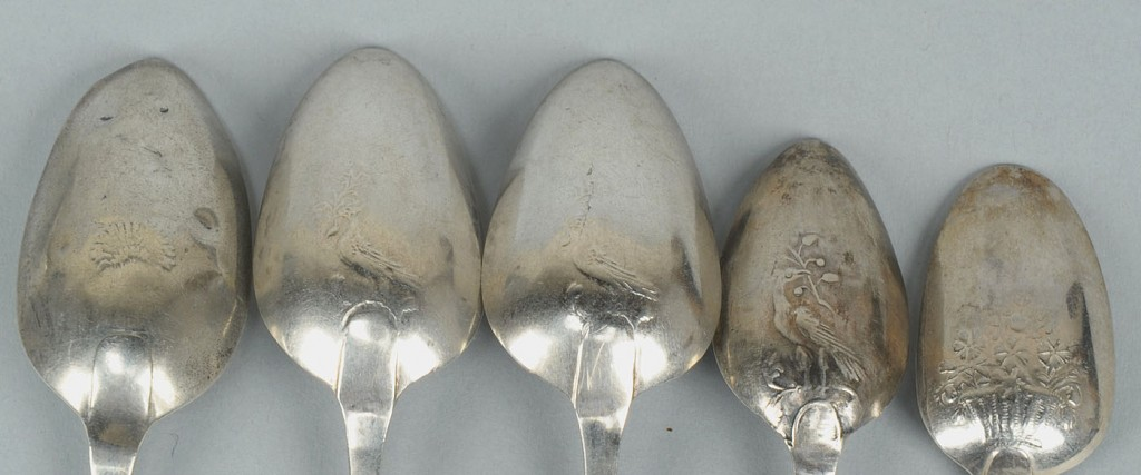 Lot 367: 6 silver Bird, Basket and Sheaf of Wheat spoons
