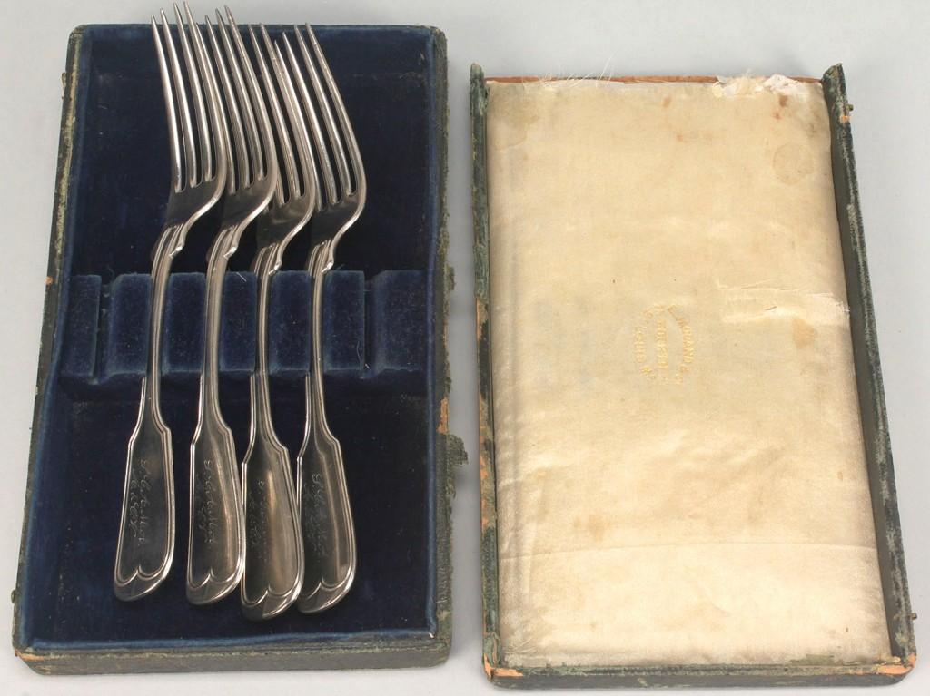 Lot 368: 4 Jaccard silver presentation forks, poss. agricul