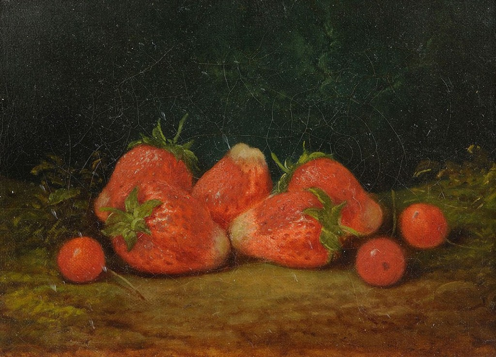 Lot 36: Small still life of strawberries