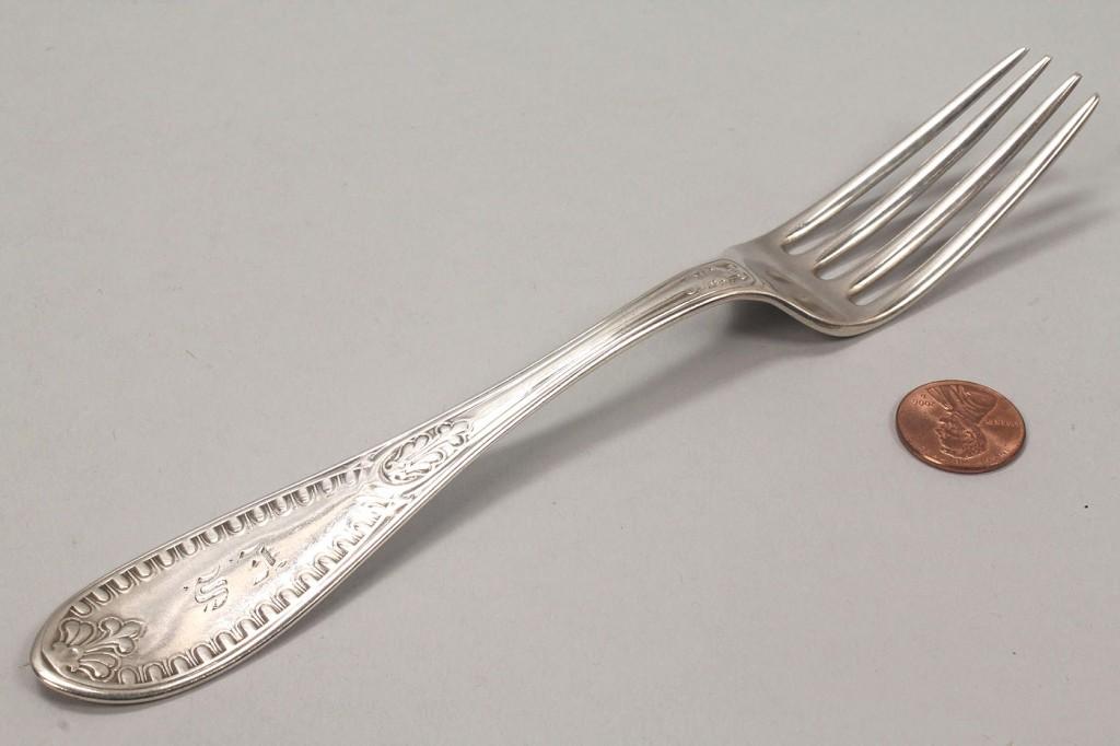 Lot 372: 5 Polhemus Tiffany Silver Ionic Forks