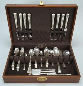 Lot 374: Gorham Greenbriar Sterling Silver Flatware, 69 pcs