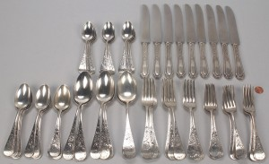 "Lot 375: Whiting ""Antique Lily"" Sterling Flatware & more, 6"