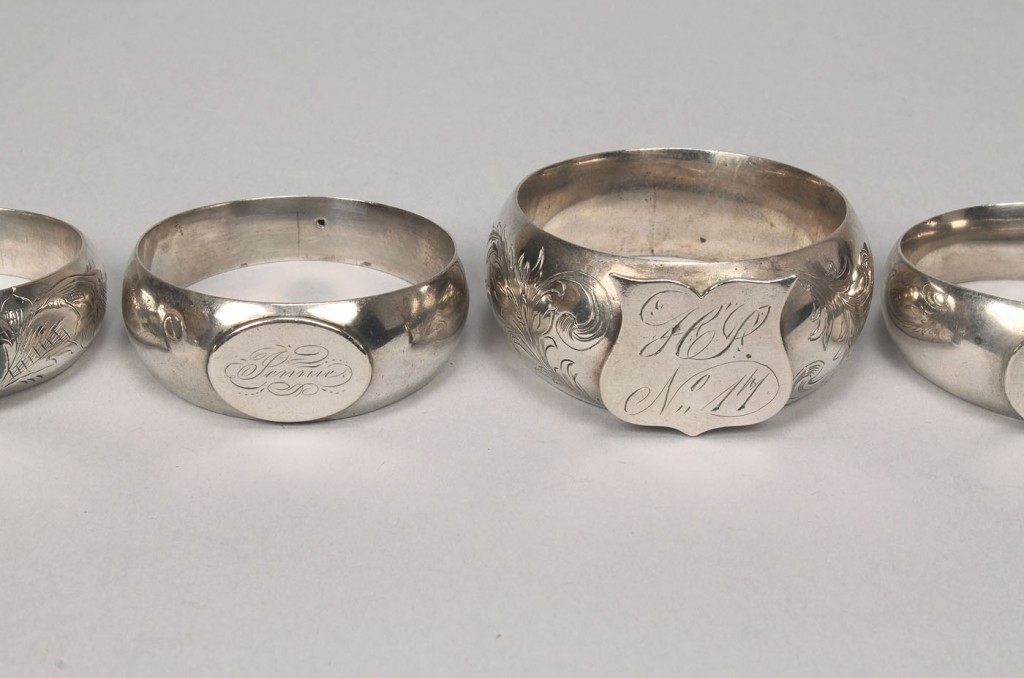 Lot 376: Collection of 7 napkin rings inc. Tiffany