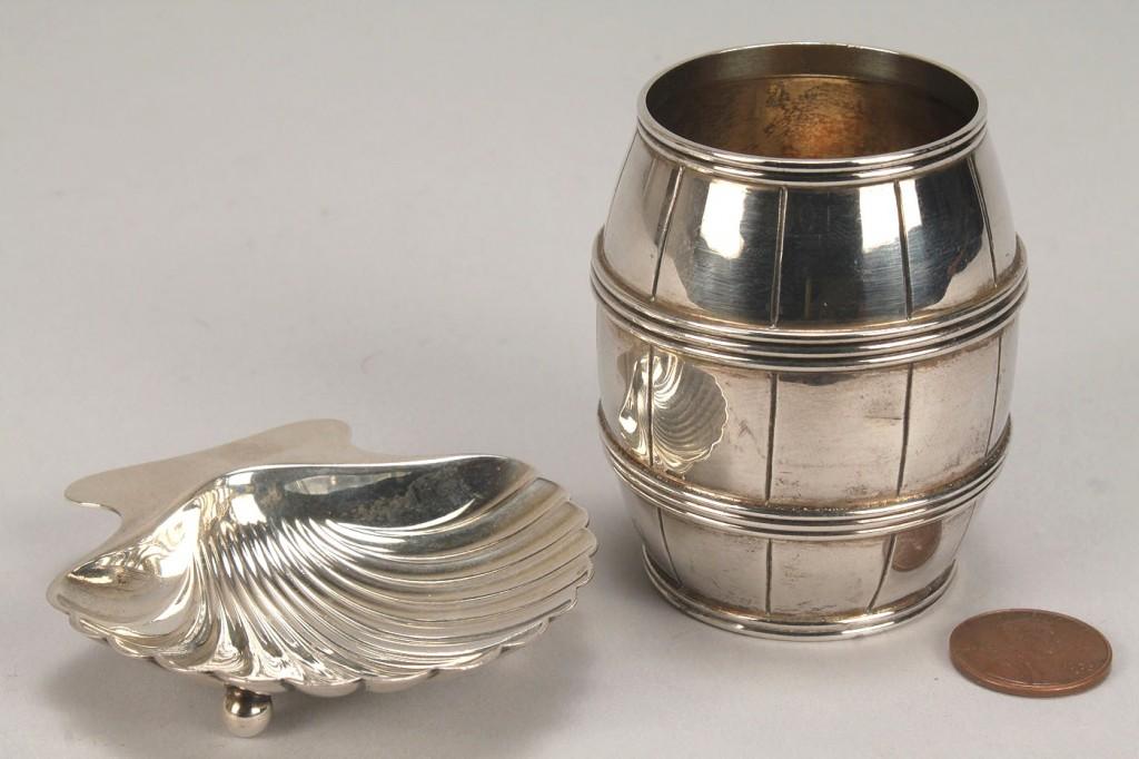 Lot 377: Tiffany sterling barrel and shell dish