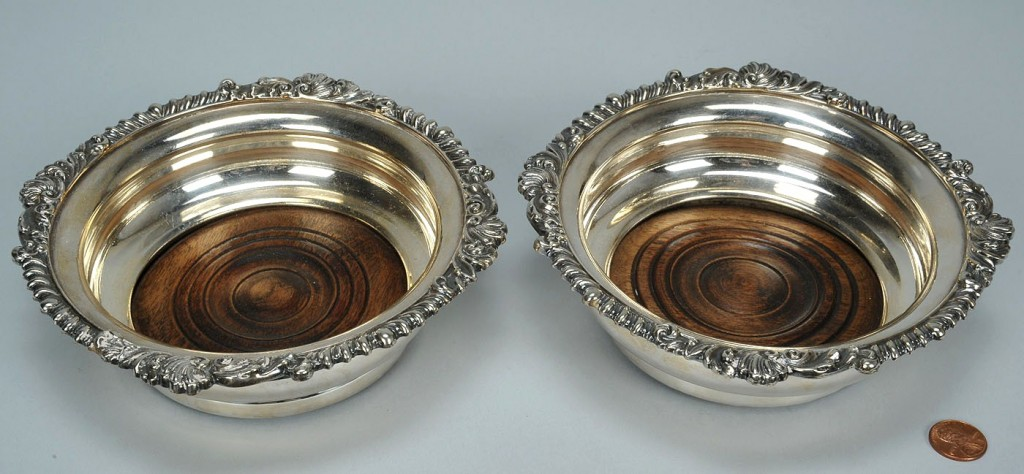 Lot 380: Pair  Old Sheffield wine coasters